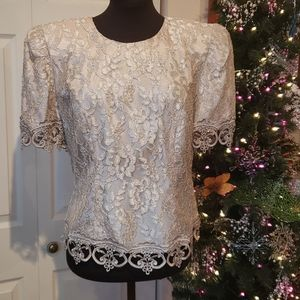 Vintage Cachet Tan Lace Gold Satin Top